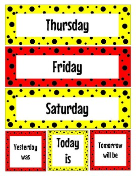 """Red and Yellow """"Mickey Inspired"""" days of the week"""