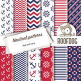 Red and blue nautical themed digital papers