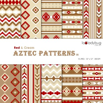 Red and cream Aztec patterns Wallpapers. Tribal digital papers.