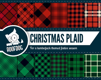 Red and green Christmas plaid digital paper