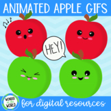 10 Red and green animated apples (GIFs) for digital resources MOVEABLE