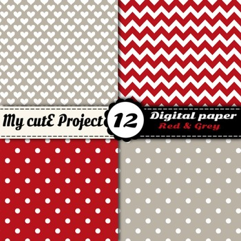 "Red and grey - DIGITAL PAPER - Scrapbooking - A4 & 12x12""- stripes ..."