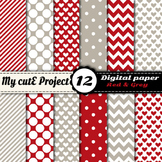 """Red and grey - DIGITAL PAPER - Scrapbooking - A4 & 12x12""""-"""