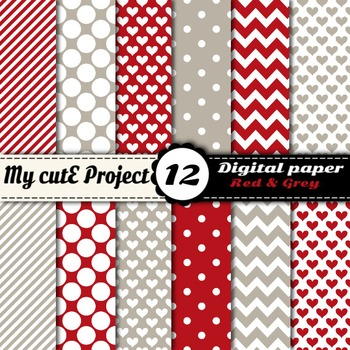 "Red and grey - DIGITAL PAPER - Scrapbooking - A4 & 12x12""-"