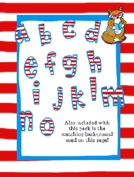 Red and white striped - Not a Font- colored alphabet
