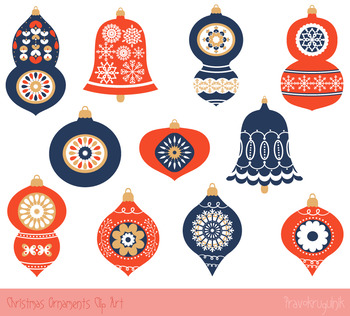 Red blue Christmas ornaments clipart set, Winter clip art, Christmas clipart set