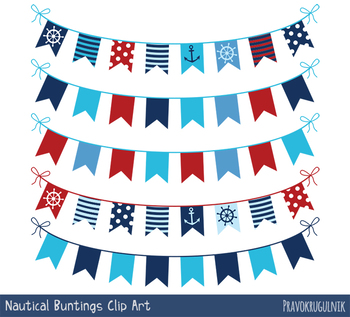 Red blue nautical bunting clipart, Navy banner marine flag border set