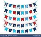 Red blue nautical bunting clipart, Navy banner marine flag