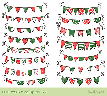 red green christmas bunting clipart winter doodle banner xmas rh teacherspayteachers com Winter Holiday Clip Art Banners holiday party banner clip art