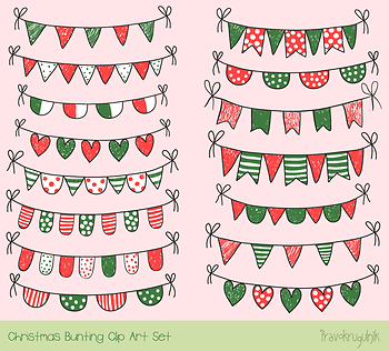 Red green Christmas bunting clipart, Winter doodle banner, Xmas garland holiday