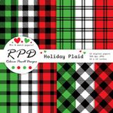 Red, green & black buffalo plaid check tartan digital pape