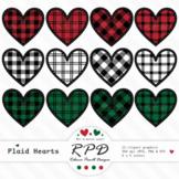 Red & black buffalo plaid tartan check stitched clipart hearts JPEG, PNG & EPS
