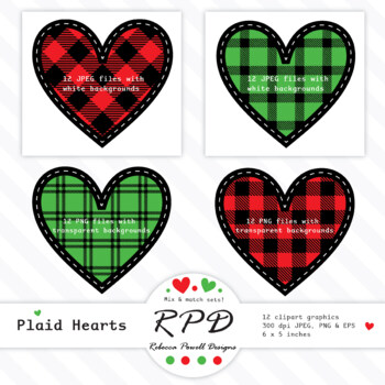 Red & black buffalo plaid tartan check stitched clipart hearts PNG, SVG & EPS