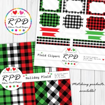 Red & black buffalo plaid tartan check stitched clipart hearts JPEG, PNG & EPS
