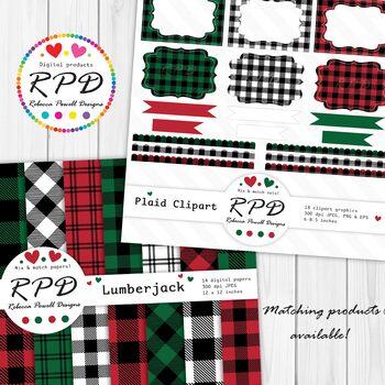 Red, green & black buffalo plaid check tartan digital papers set/ backgrounds