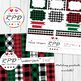 Red, green & black buffalo plaid check tartan digital papers set/ backgrounds
