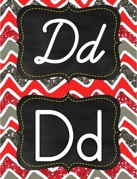 Red, grey, white glitter chevron manuscript print and cursive alphabet