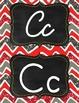 Red, grey, white glitter chevron manuscript print and curs