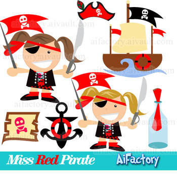 Red little pirate clipart set