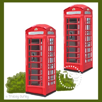 Red phone booth clip art, British phone booth Printable Tracey Gurley Designs