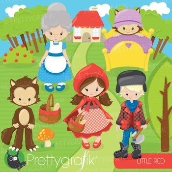 Red riding hood clipart commercial use, graphics, digital clip art - CL879