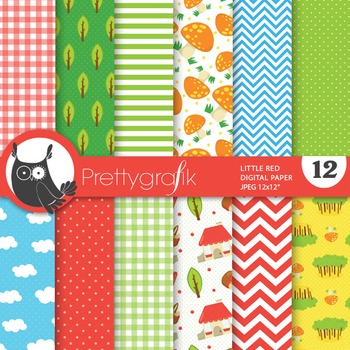 Red riding hood digital paper, commercial use, scrapbook p