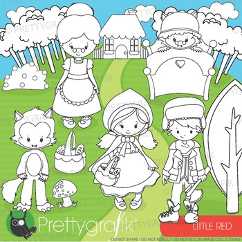 Red riding hood stamps commercial use, vector graphics, im