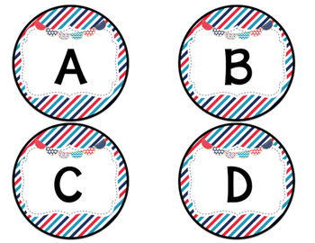 Bulletin Board Labels- Multi Color dots and stripes