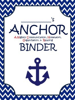 Red, white, and navy blue Nautical EDITABLE Folder Cover
