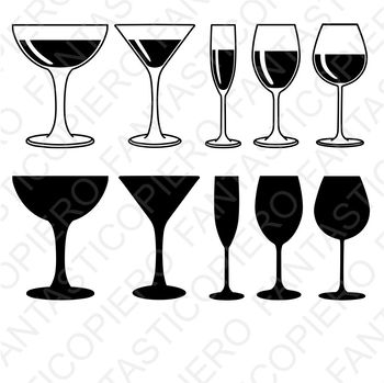 Red, white wine Glasses SVG files for Silhouette Cameo and Cricut.
