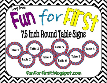 Red with Blue Dots Table Signs