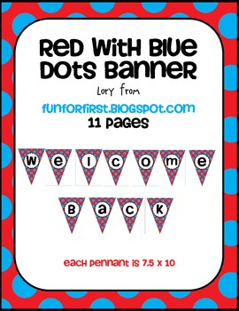 Red with Blue Dots Welcome Back Banner