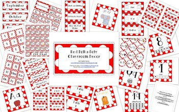 Red with White Polka-Dots Classroom Decor