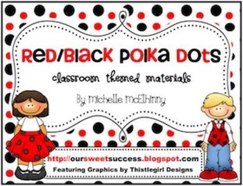 Red/Black Polka Dots {Classroom Themed Materials}