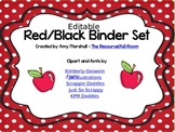 Red/Black Teacher Binder and Calendar Set *Editable