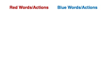 Red/Blue Words/Actions