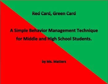 Red/Green Cue Card:  Simple Behavior Management for Secondary Students