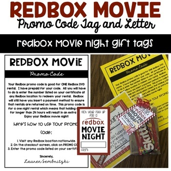 Redbox Gift Certificate Tags by Thrills and Frills in Third | TpT