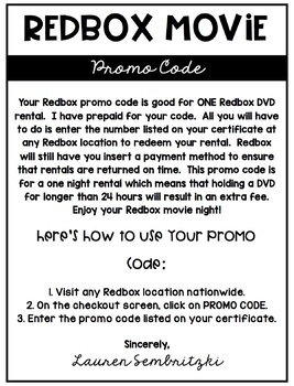 Redbox Gift Certificate Tags