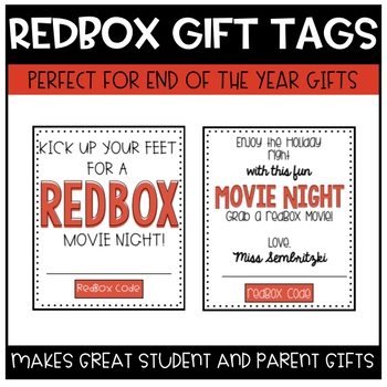 Redbox Gift Certificate Tags (Editable with 3 Styles) | TpT