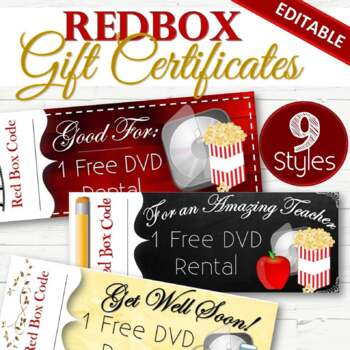 Redbox Gift/Holiday Certificates - INSTANT DOWNLOAD