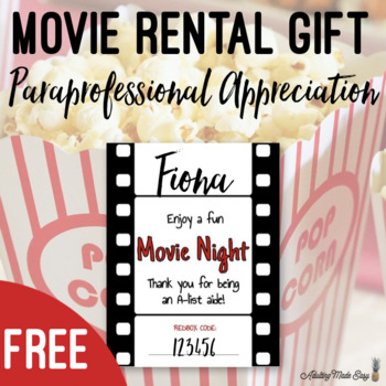 photo relating to Printable Redbox Gift Cards named Redbox Video clip Night time Workers Appreciation Printable Reward Label TpT
