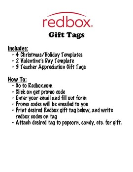 Redbox gift tags