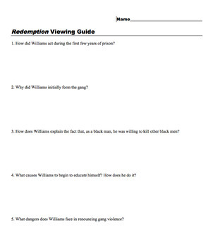 Redemption Viewing Guide (MS Word)
