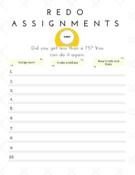 Redo Assignment Handout for Students