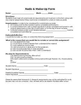Redo and Make-up Form