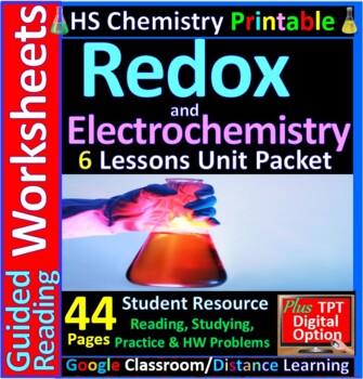 Redox & Electrochemistry 5-Product Bundle: HS Chemistry Notes, Worksheet..etc