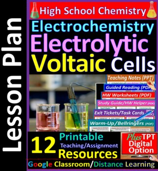 Voltaic & Electrolytic Cells  - Worksheets & Practice Questions HS Chemistry