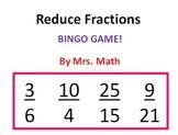 Reduce Fractions BINGO (Mrs Math)