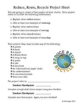 Reduce, Reuse, Recycle Activities and Project